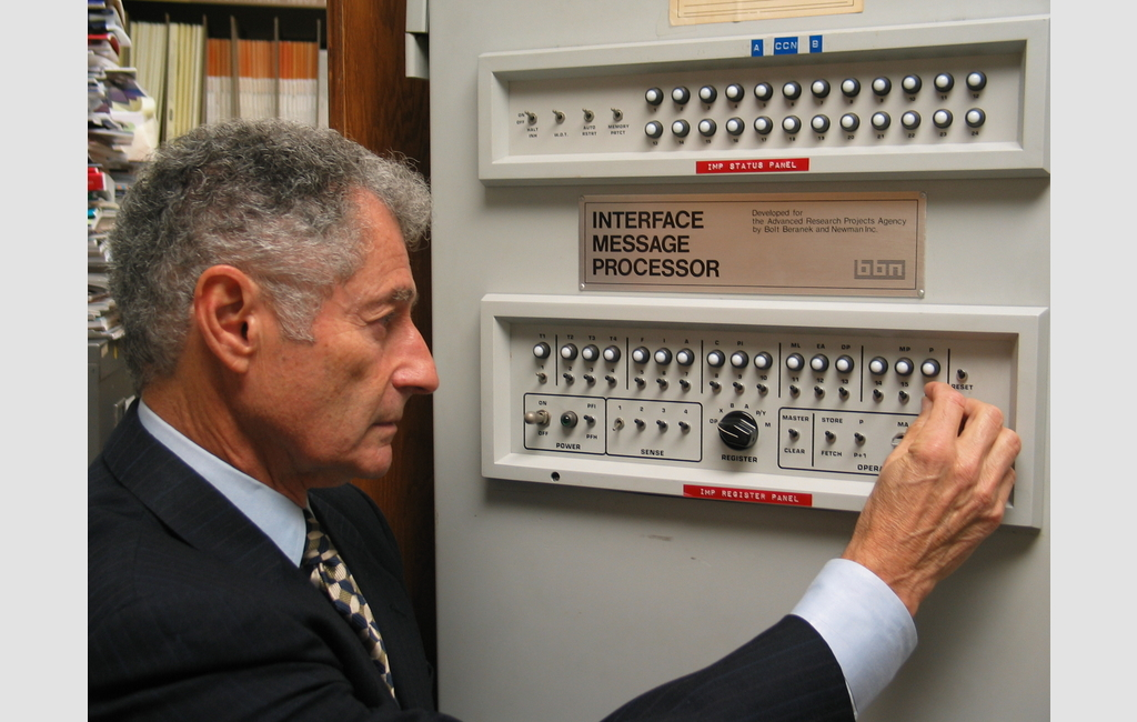 Leonard Kleinrock at the Interface Message Processor, or IMP, which was used to send the first message on the internet in 1969