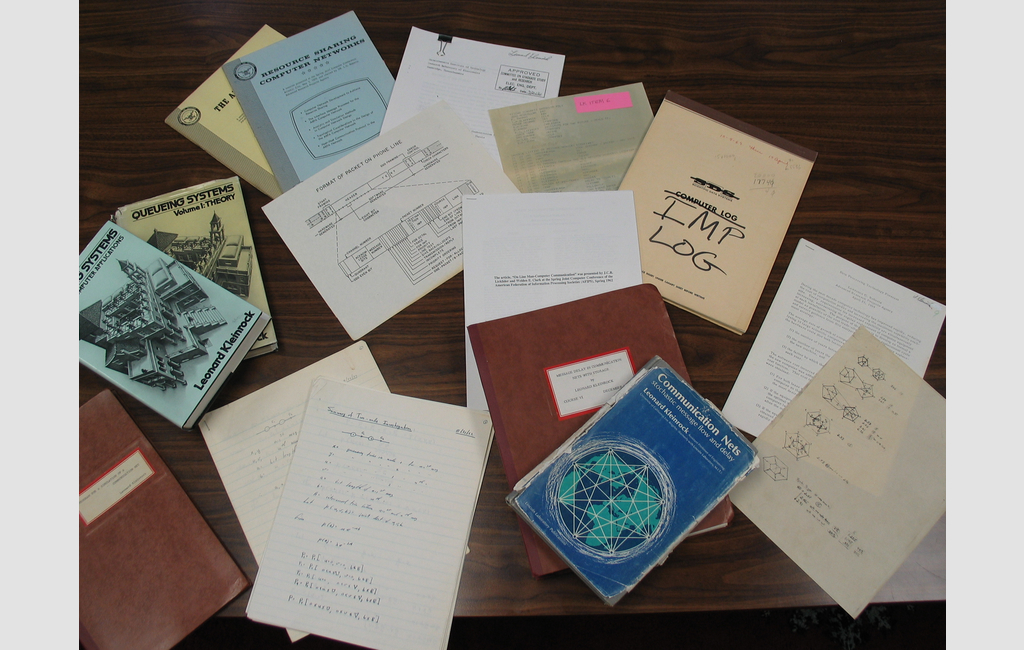 "Items from Leonard Kleinrock's archives include the ""IMP LOG,"" a scientific notebook that has a record of the first message sent on Oct. 29, 1969"
