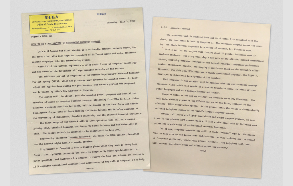 A UCLA press release, dated July 3, 1969, announcing that UCLA will be the first station on a nationwide network of computers